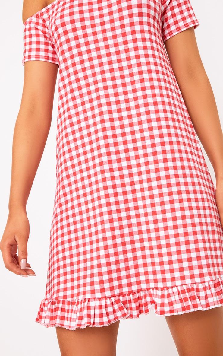 Red Gingham Bardot Frill Hem Swing Dress  5