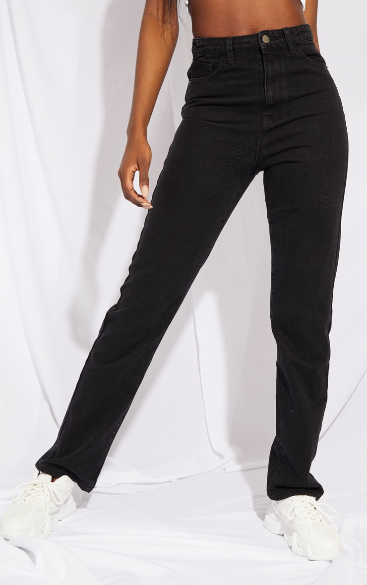 PRETTYLITTLETHING Tall Black Straight Leg Jean 2