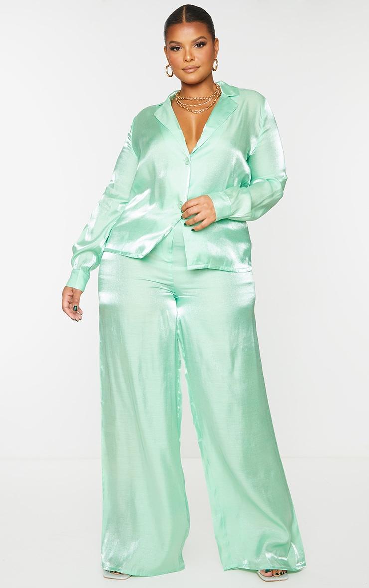 Plus Sage Green Metallic Wide Leg Pants 1