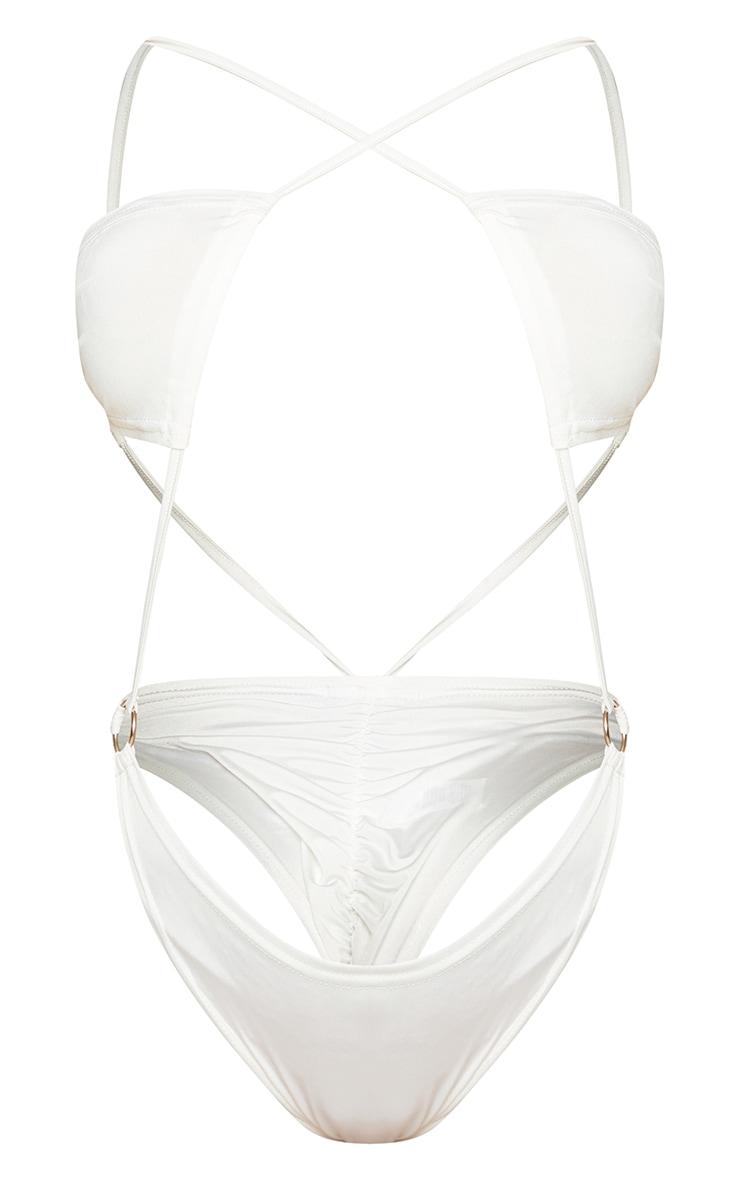 Shape Cream Slinky Ring Detail Cut Out Bodysuit 5
