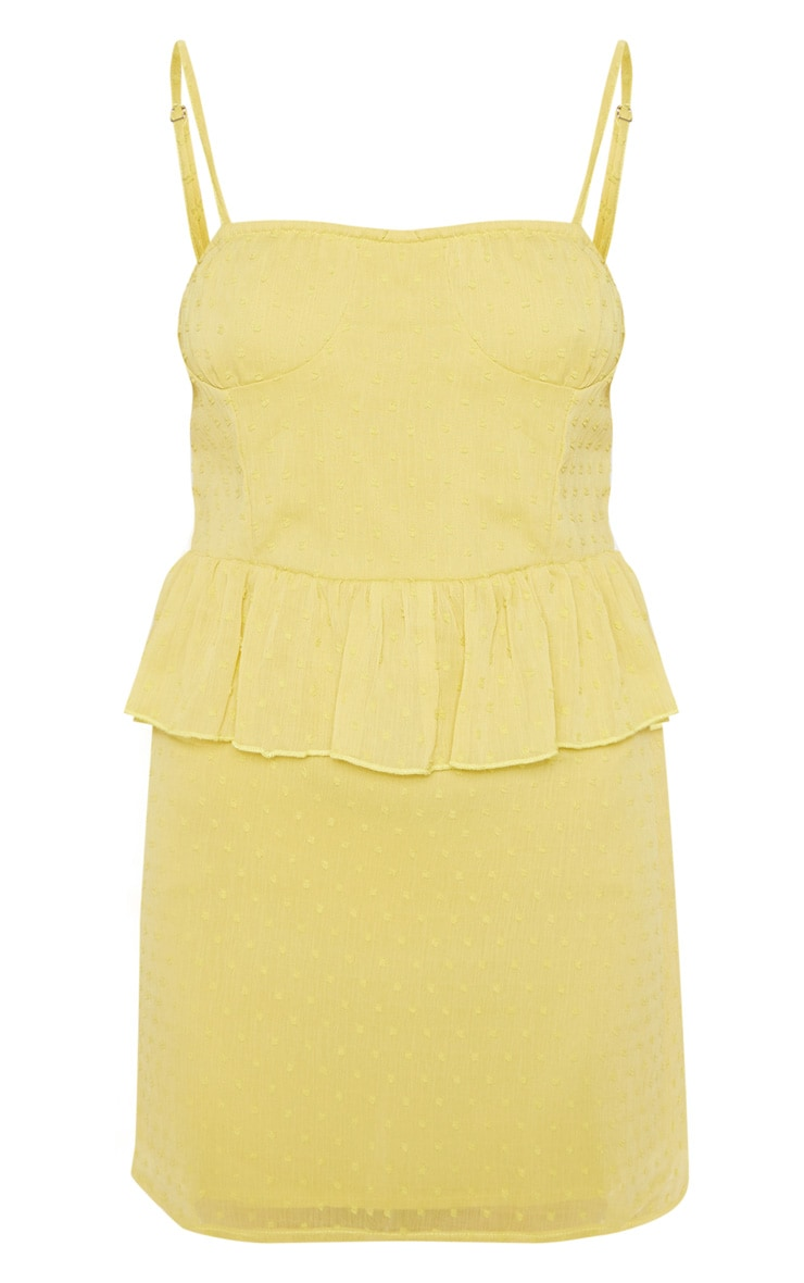 Chartreuse Dobby Mesh Cup Detail Skater Dress 3