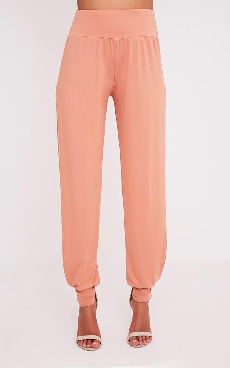 Chasity Peach Split Side Jersey Trousers 2