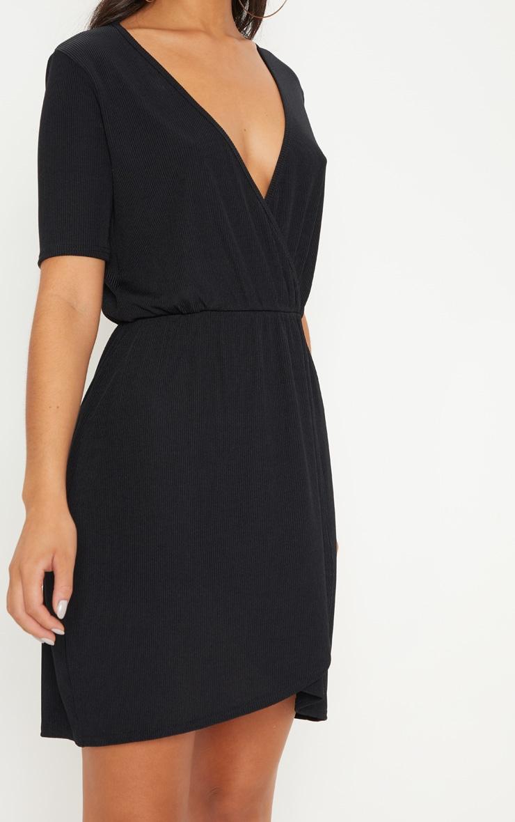 Black Wrap V Neck Short Sleeve Rib Dress 5