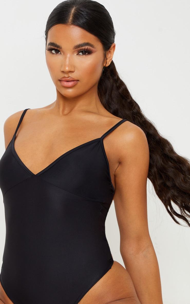 Black Stretch Slinky Cup Detail Strappy Bodysuit 6