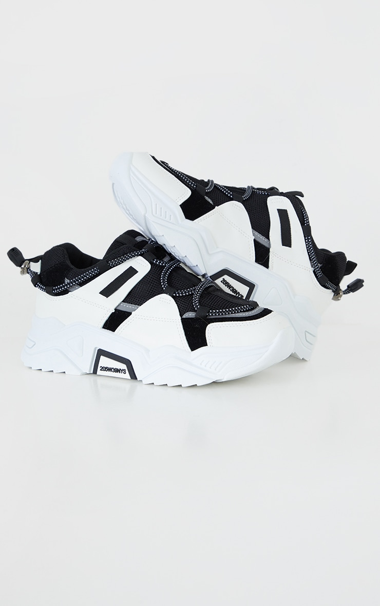 Monochrome PU Chunky Sole Toggle Detail Trainers 3