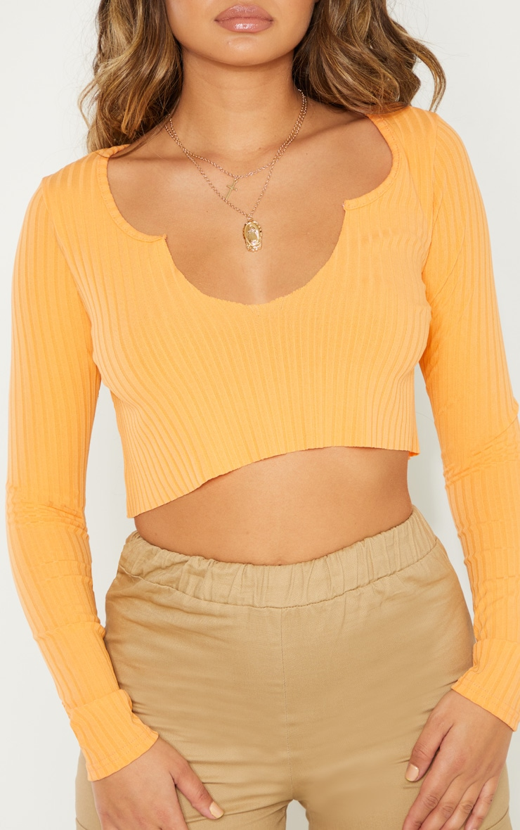 Peach Long Sleeve Rib Raw V Crop Top 4