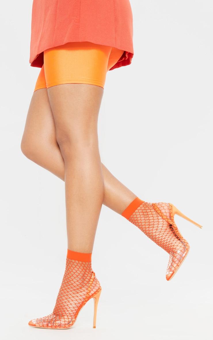 065ba36fc3 Orange Fishnet Slingback Pointed Toe Heels | PrettyLittleThing USA