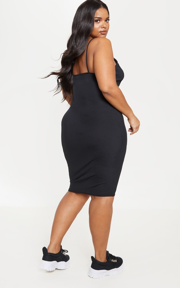 Plus Black Ribbed Plunge Midi Dress  2