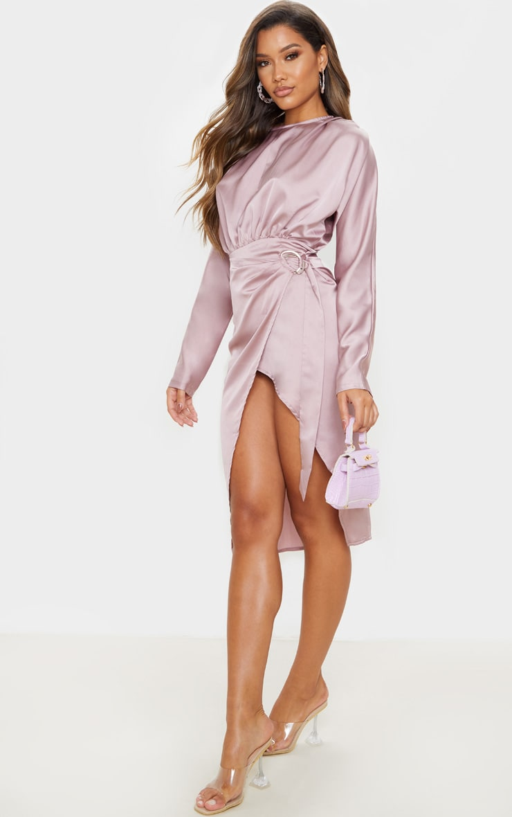 Mauve Satin Wrap Skirt Backless Midi Dress 4