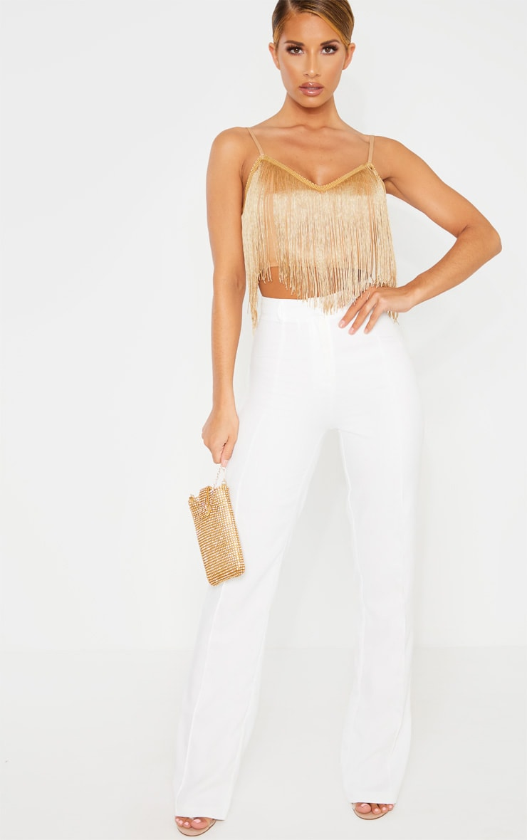Gold Tassel Trim Sleeveless Crop Top 4