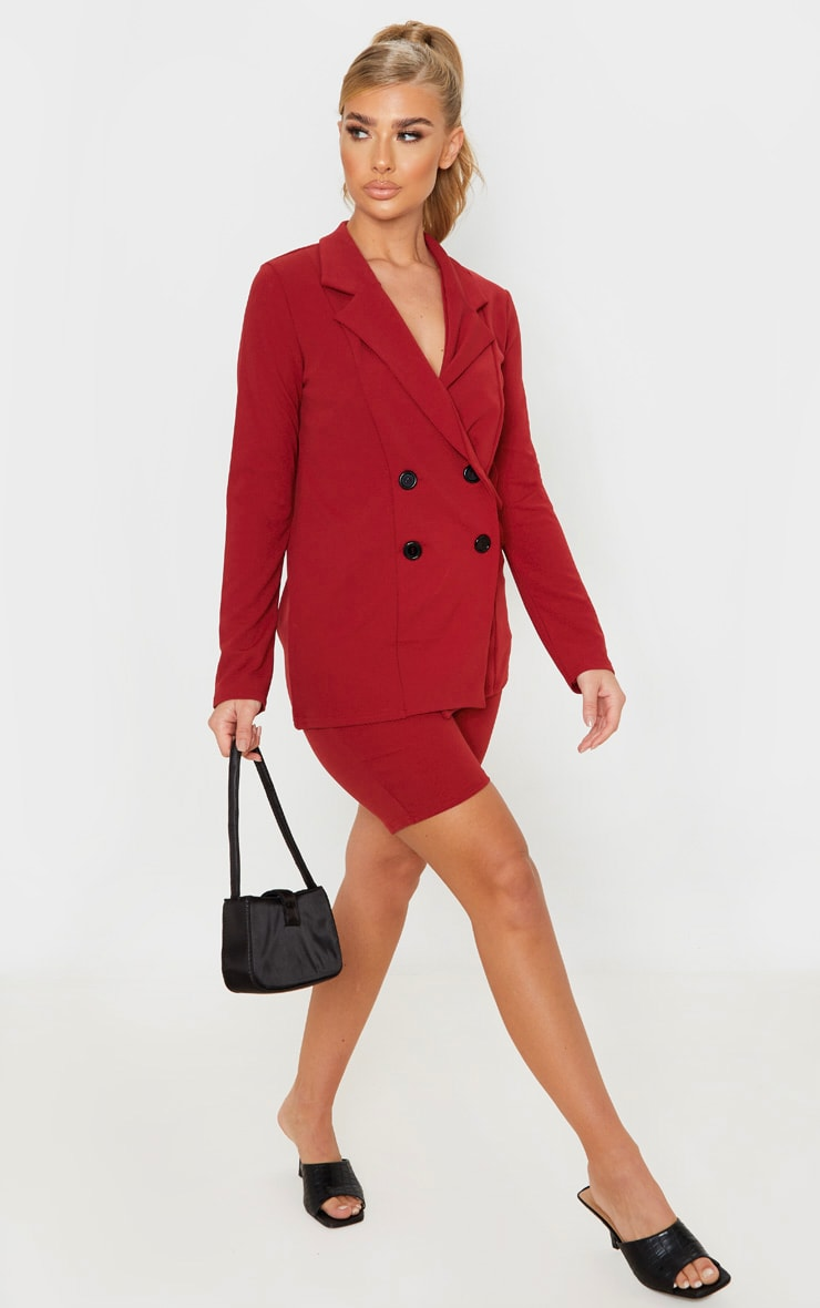 Deep Red Double Breasted Button Suit Jacket 4