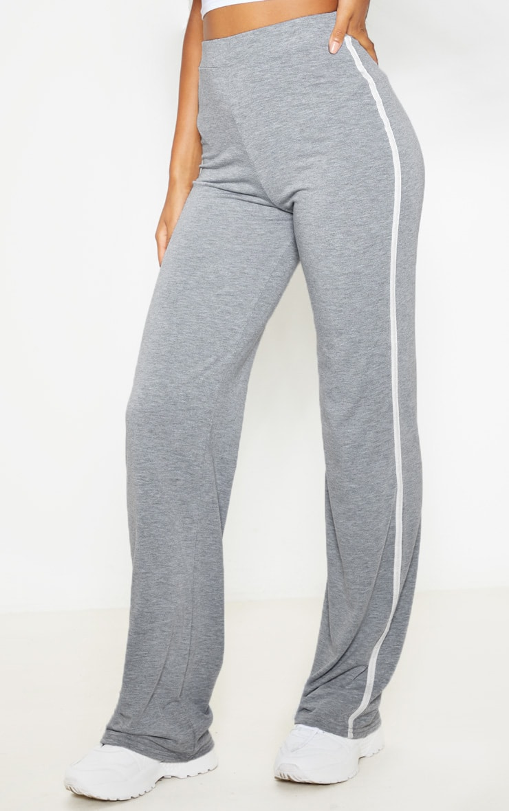 Grey With White Jersey Side Stripe Wide Leg Trouser 2