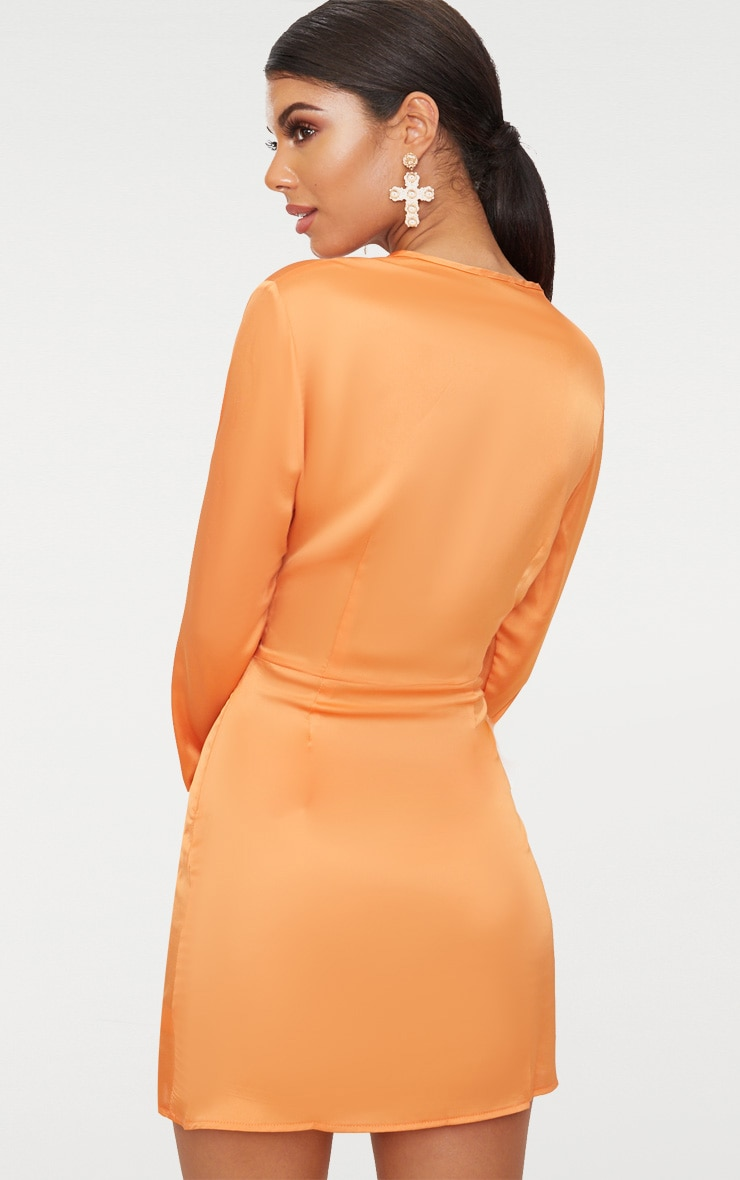 Tangerine Satin Long Sleeve Wrap Dress 2