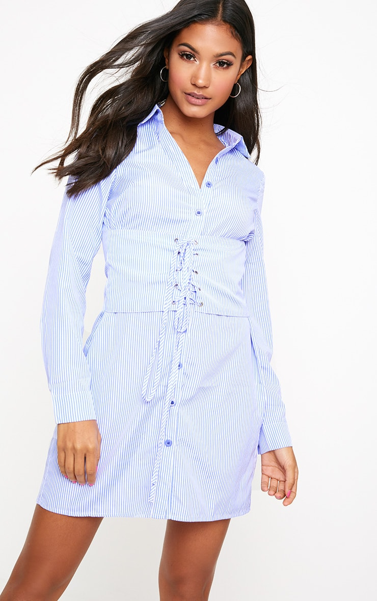Blue Corset Lace Up Open Shirt Dress 1