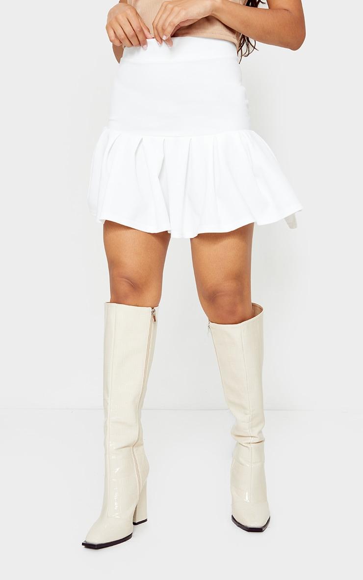 Petite White Pleated Step Hem Mini Skirt 2