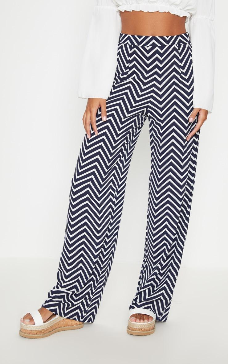 Navy Crepe Chevron Print Wide Leg Trouser 2