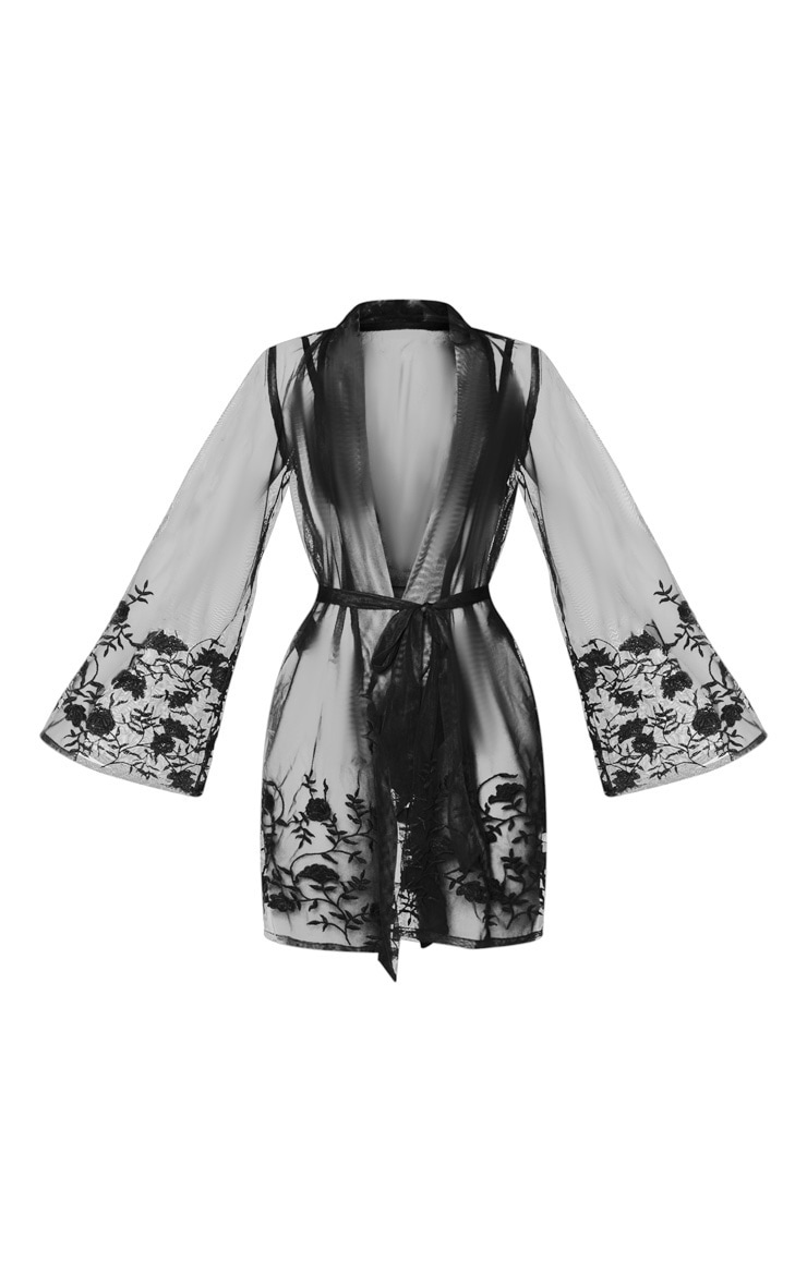 Black Embroidered Mesh Floral Robe 5