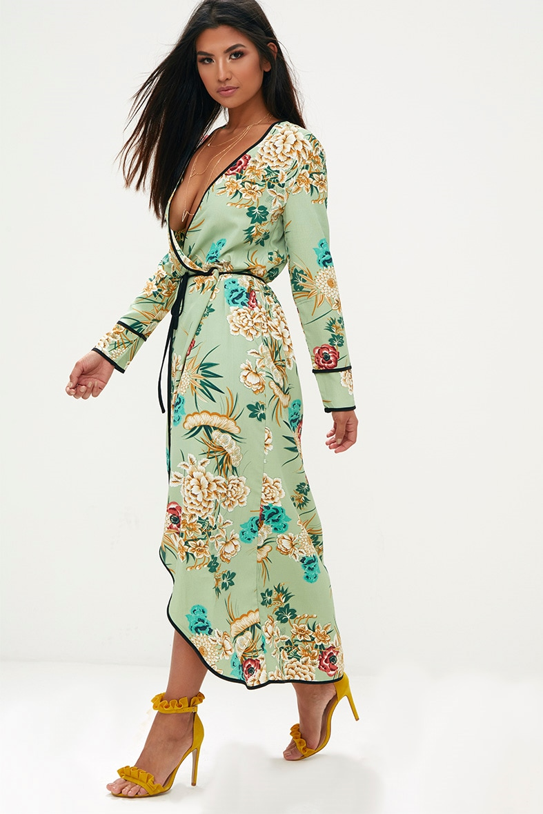 Sage Green Floral Wrap Ankle Grazer Maxi Dress