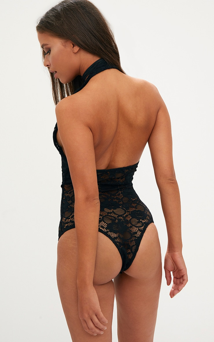 Black Sheer All Over Lace Halterneck Body 2