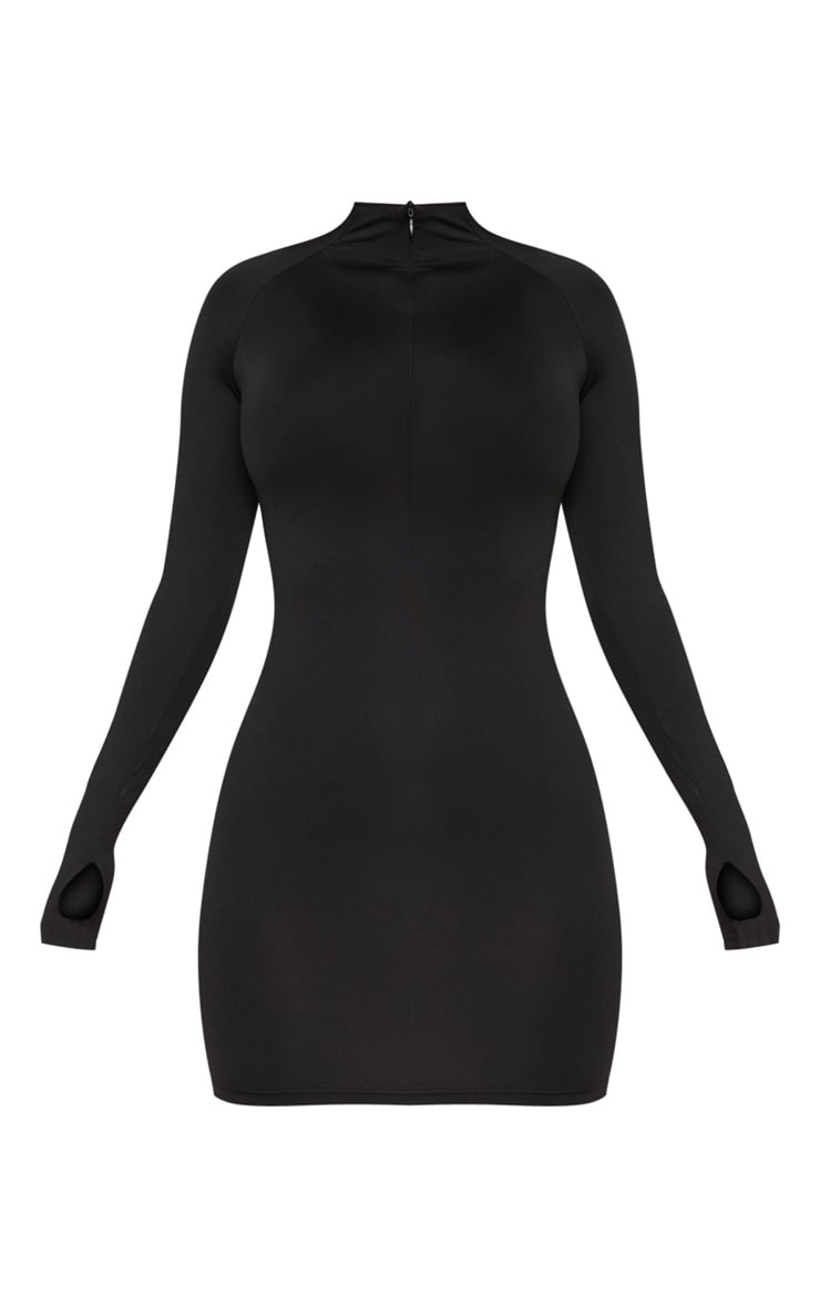 Black Slinky Long Sleeve Zip Up Bodycon Dress 3
