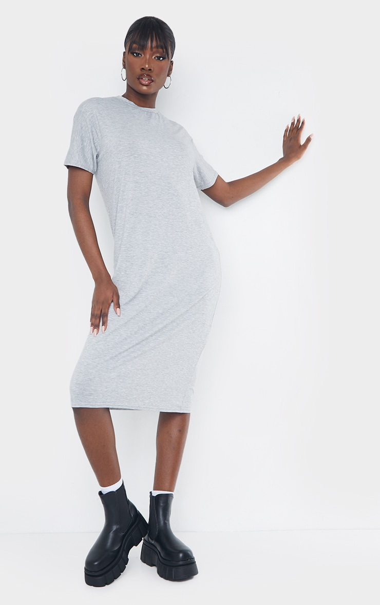Tall Grey Marl Oversized Boxy Midi T Shirt Dress 1