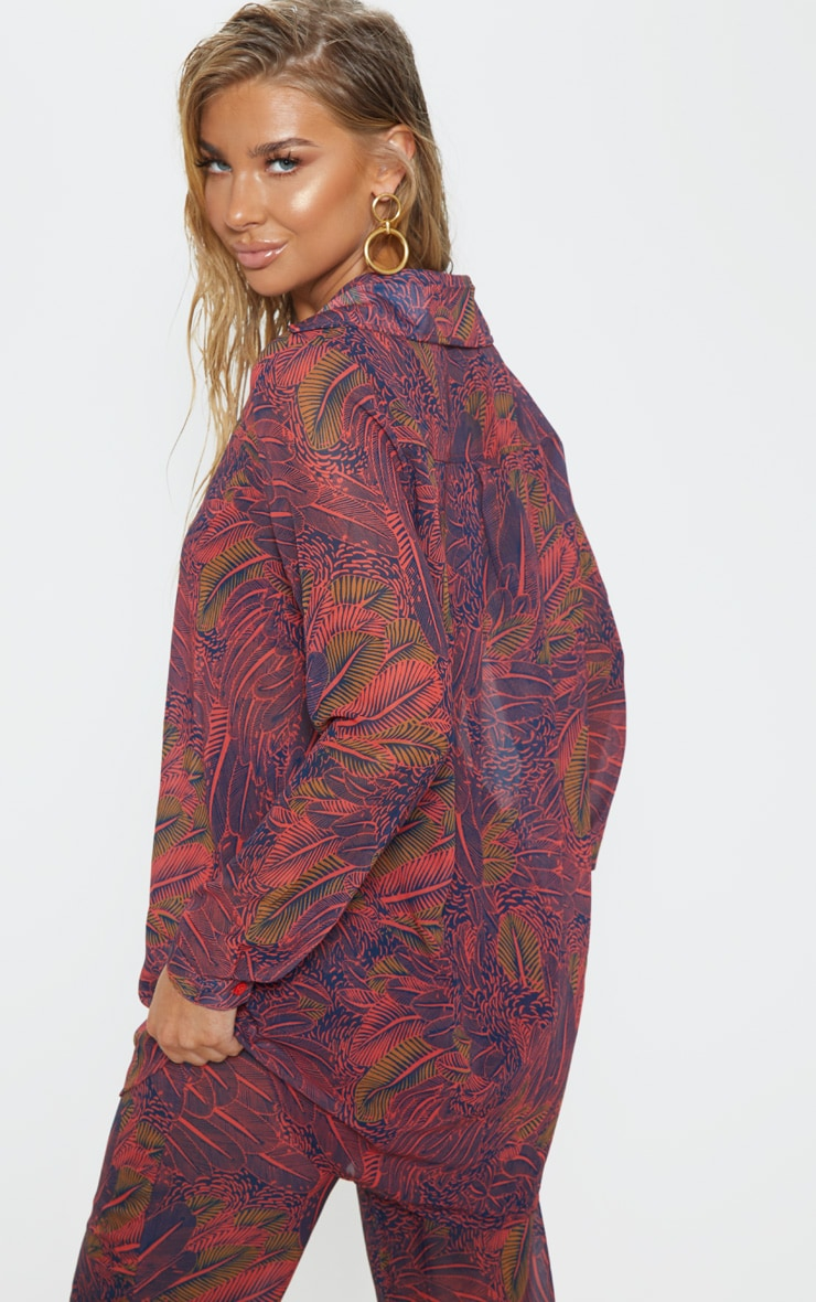 Neon Pink Leaf Print Beach Shirt 2