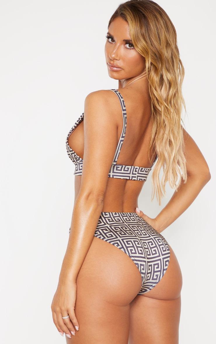 Cream Greek Key High Apex Bikini Top 2