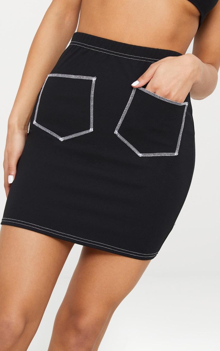 Black Contrast Stitch Pocket Front Mini Skirt 6