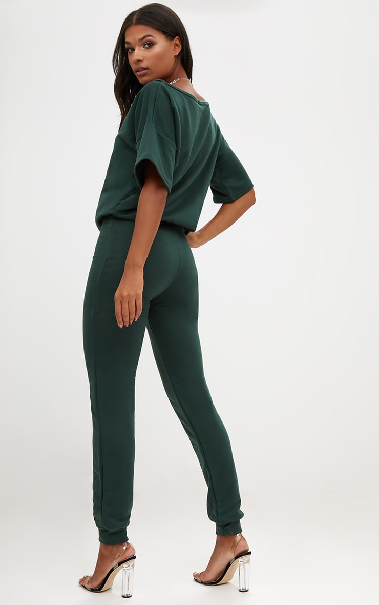 Forest Green  Loop Back Sports Stripe Jumpsuit 2