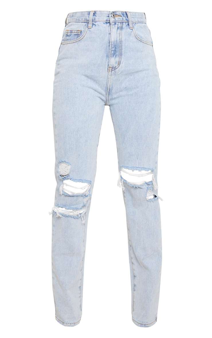 Light Wash Distressed Straight Leg Jeans 5