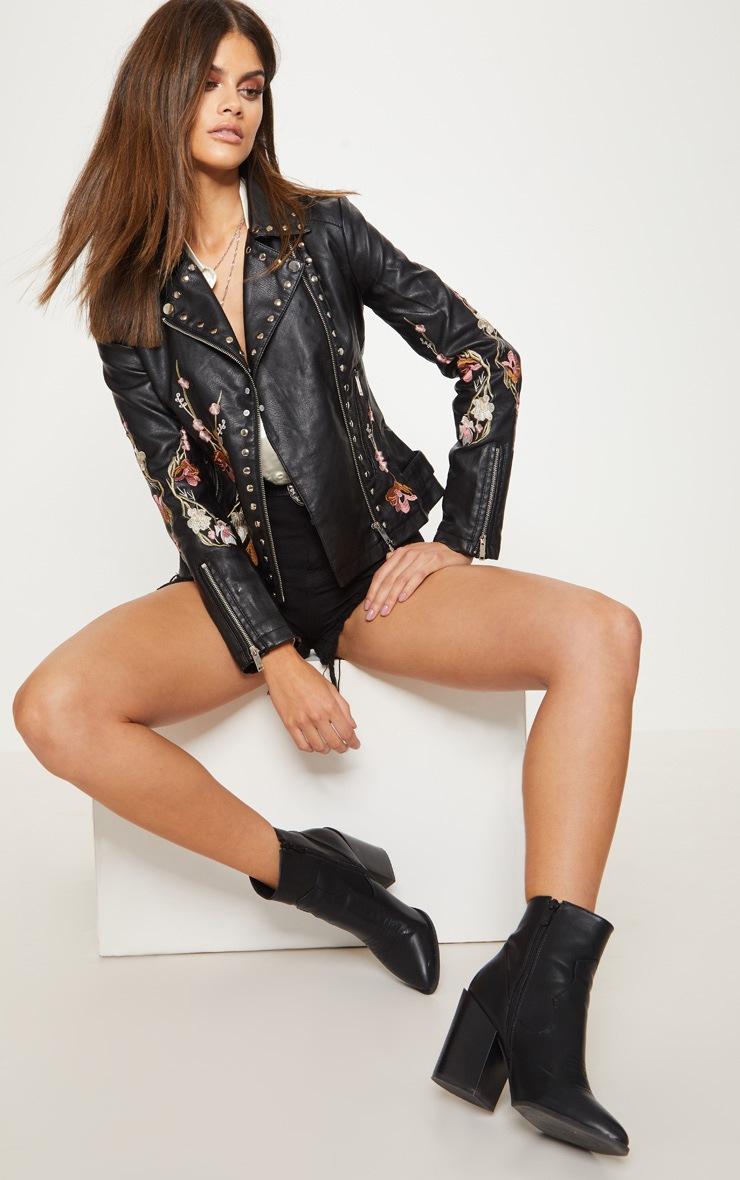 Veste biker noire en simili cuir à broderies 4