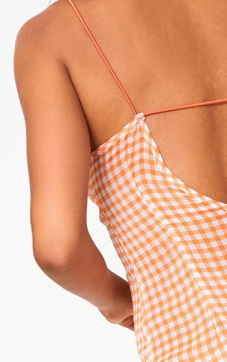 Orange Strappy Gingham Chiffon Maxi Dress  5