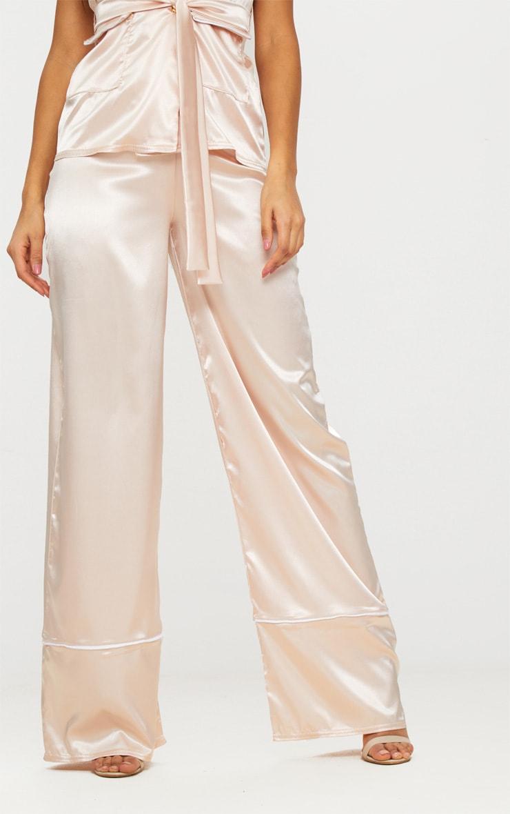 Rose Satin Contrast Trim Wide Leg Trousers 2