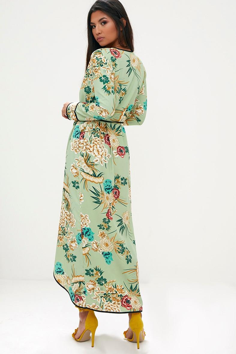 Sage Green Floral Wrap Ankle Grazer Maxi Dress 2