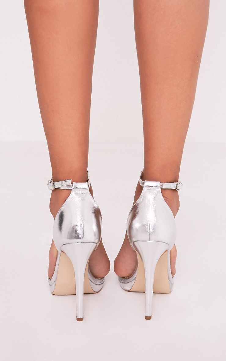 Enna Silver Single Strap Heeled Sandals 4