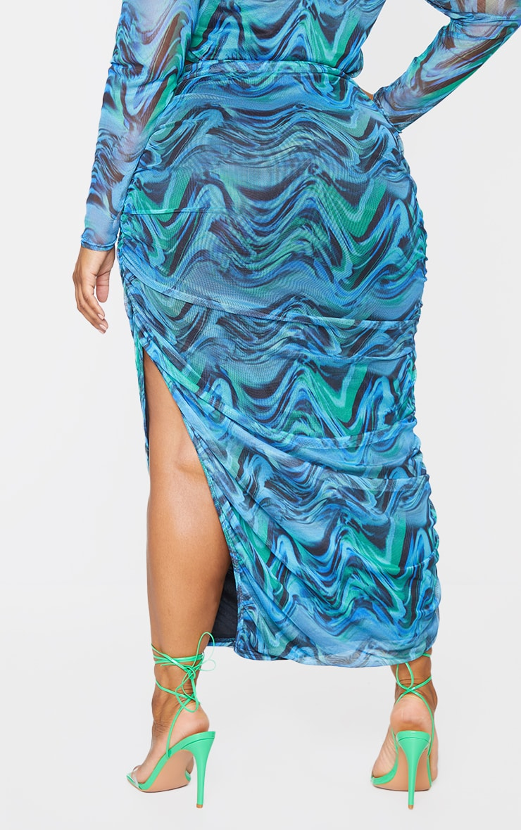 Plus Blue Abstract Print Layered Mesh Ruched Split Detail Maxi Skirt 3