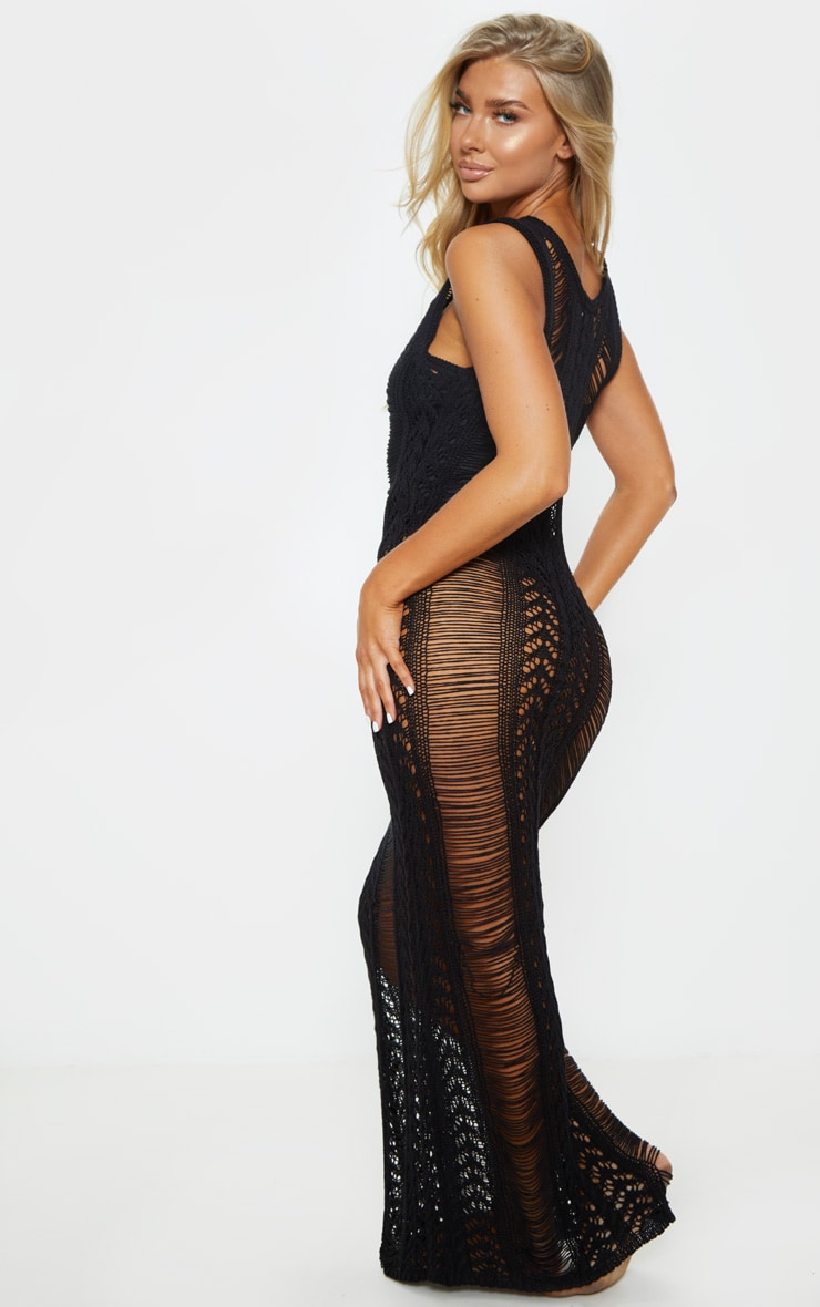 Black Crochet Ladder Detail Maxi Dress 2