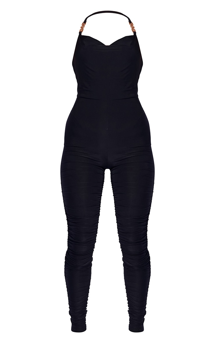 Black Chain Detail Halterneck Slinky Jumpsuit 5