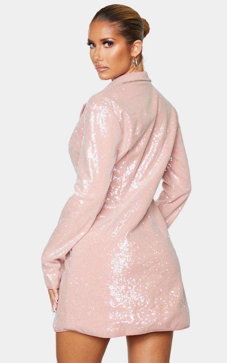 Dusty Pink Sequin Blazer Dress 2