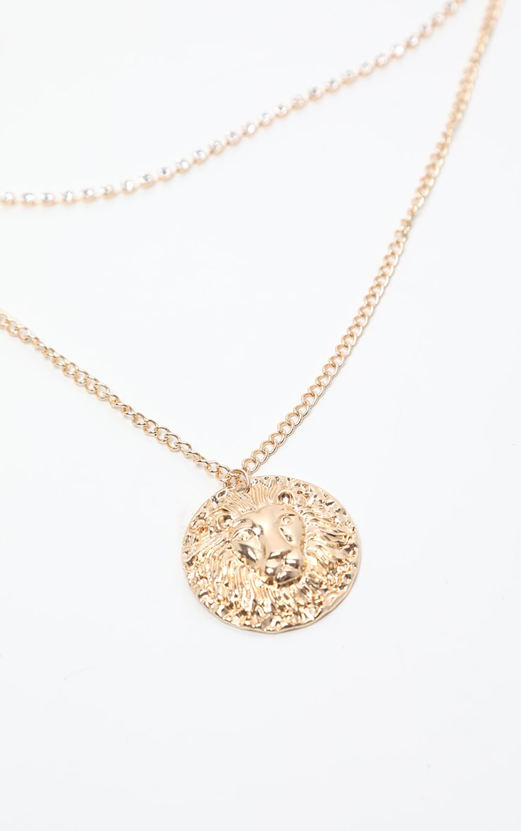 Gold Lion Multi Layer Necklace 3