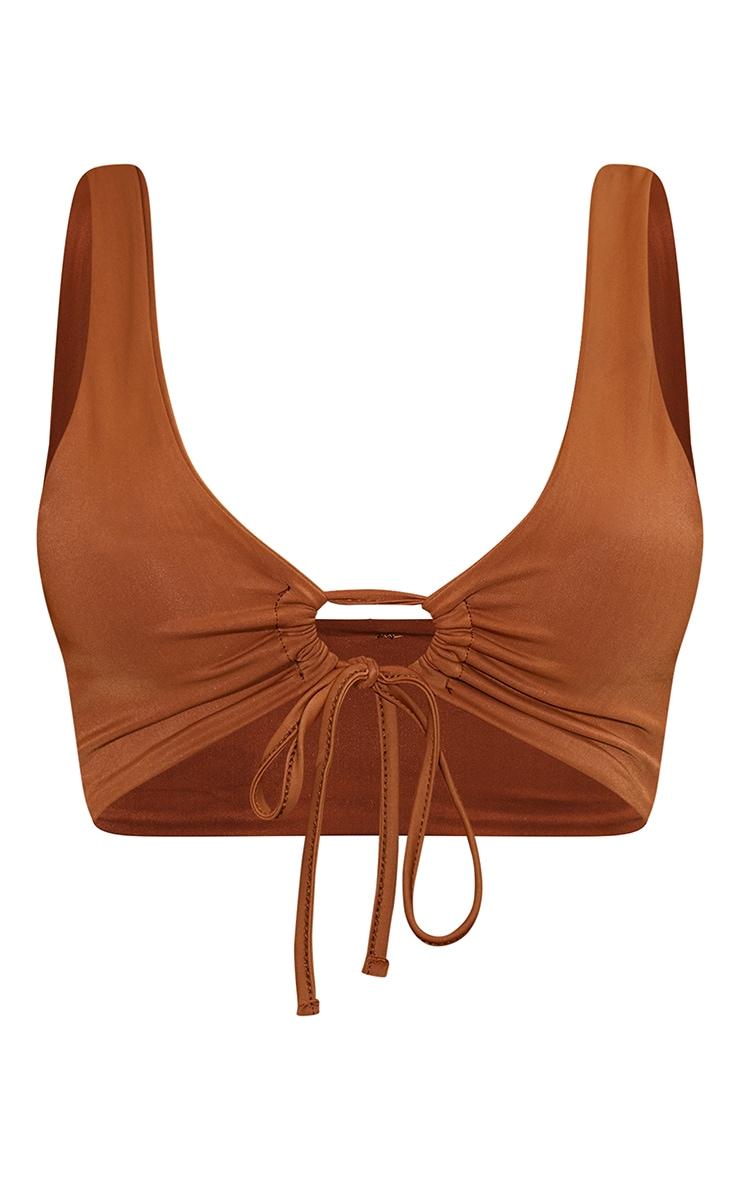 Mocha Scoop Key Hole Tie Front Bikini Top 5