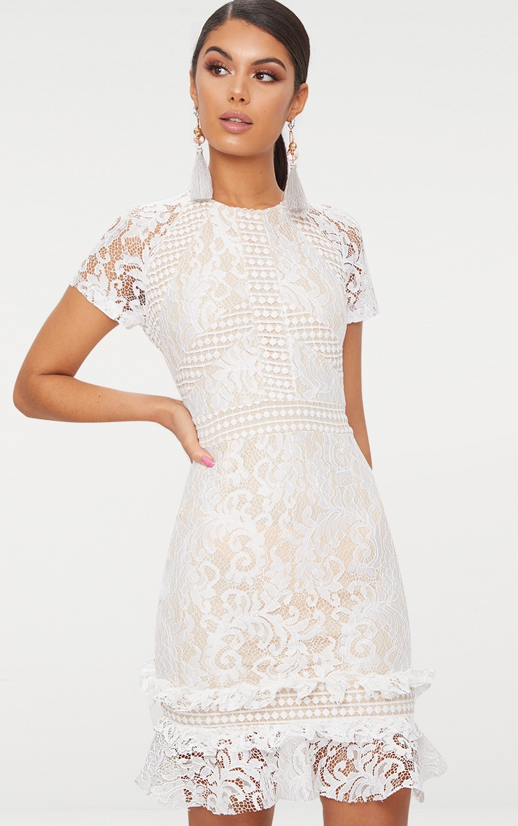 White Frill Hem Lace Bodycon Dress 1
