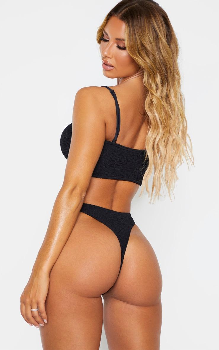 Black Crinkle Bow Bikini Top 2
