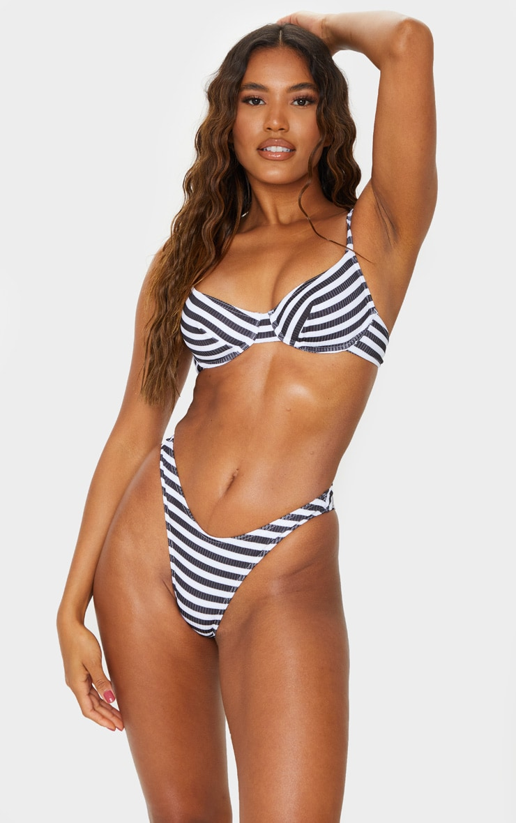 Black Textured Stripe Underwire Bikini Top 1