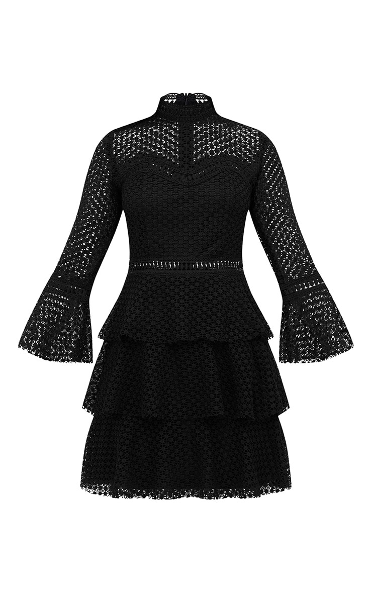 Black Flare Sleeve Lace Tiered Mini Dress 3