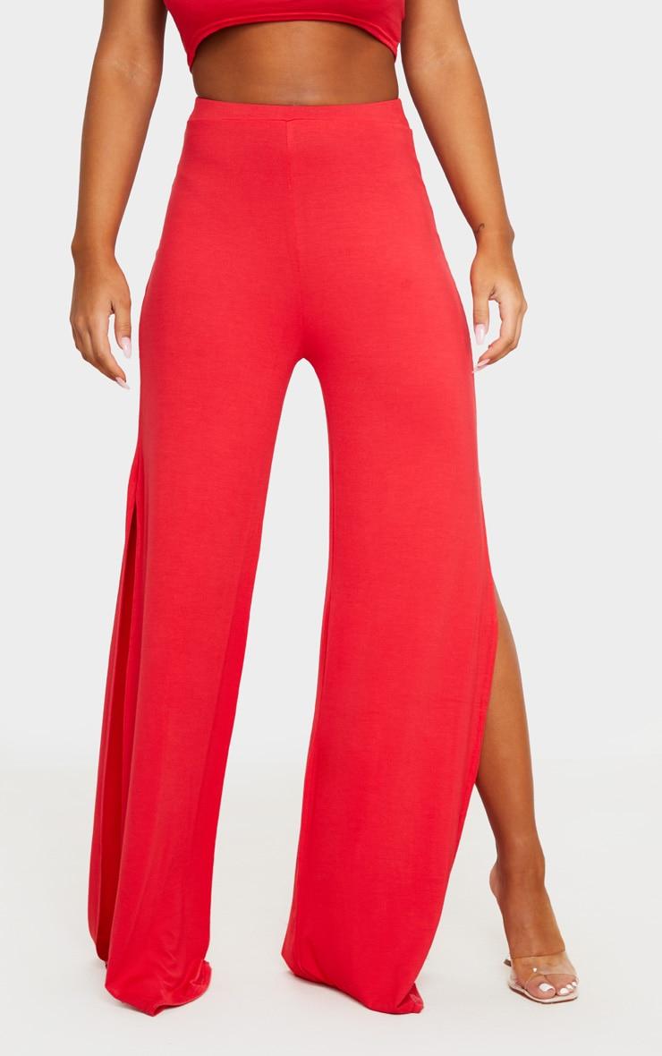 Red Jersey High Waist Split Wide Leg Pants 2