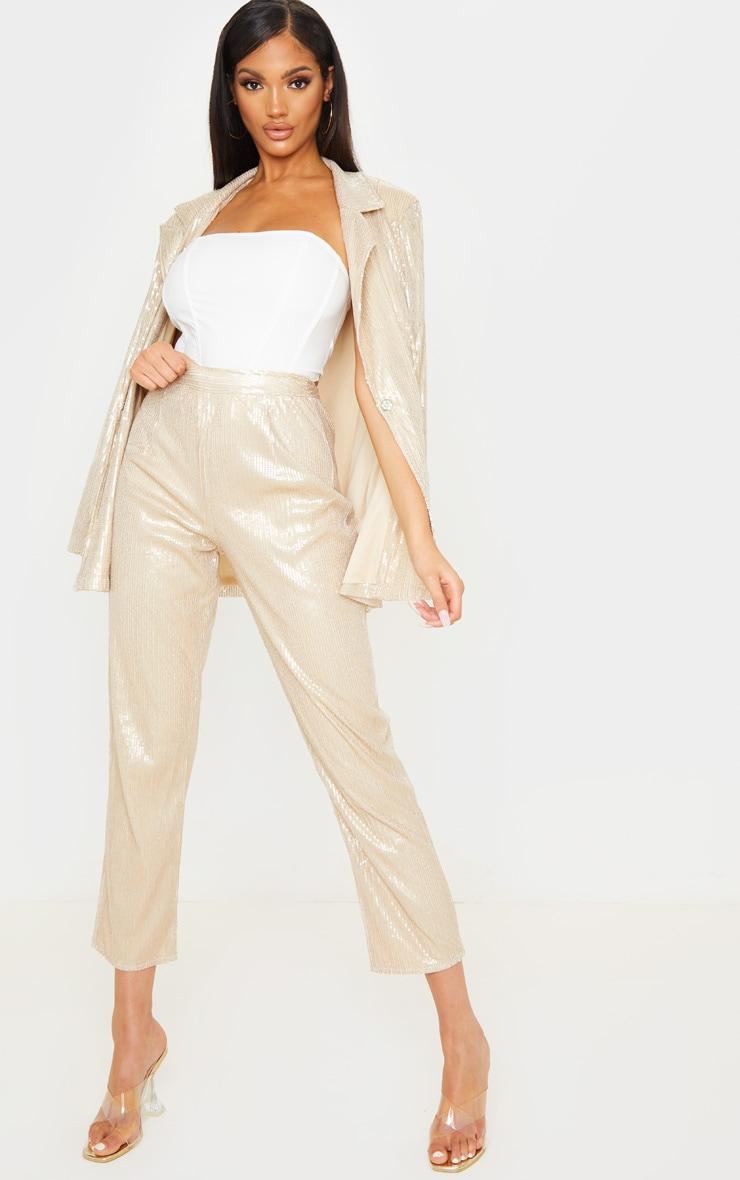 Pantalon droit taille haute en sequins dorés 1