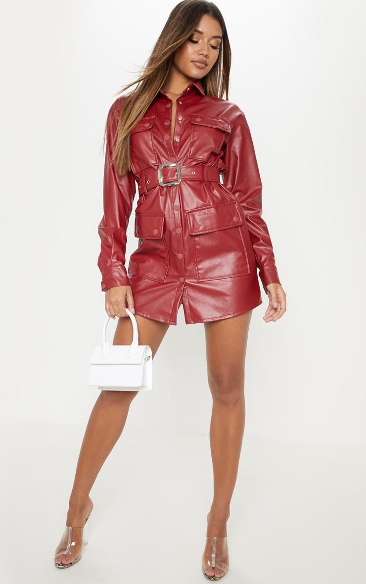 Burgundy Faux Leather Pocket Belt Shift Dress