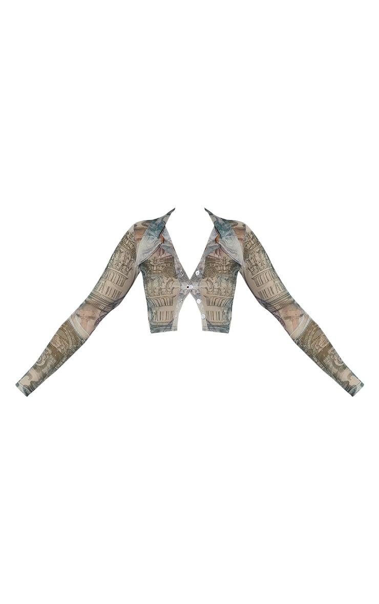 Grey Print Mesh Crop Shirt 5