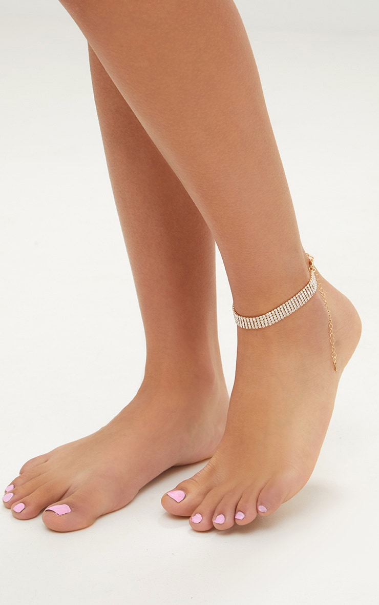 Gold Diamante Anklet 1